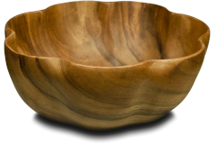 "Pacific Merchants Acacia Wood 12"" x 4"" Round Flared Bowl"